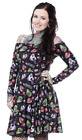 Sourpuss Ghastly Ghouls Off Shoulder Punk Gothic Halloween Spooky Dress SPDR434
