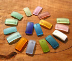 PICK COLOR 6pcs 22mm Curved rectangle sea beach glass beads frosted recycled
