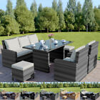 Rattan Garden Dining Table Sofa And Chair Patio Set Stool Black Brown Grey