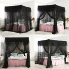 4 Corners Post Insect Bed Canopy Black Netting Curtain Mosquito Net All Sizes image