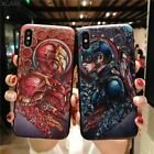 Fashion 3D Marvel Angry Embossed Captain America Iron Man Heroes Case for iPhone