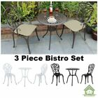 Cast Aluminium 3 Piece Bistro Set Garden Patio Outdoor Table Chairs Furniture