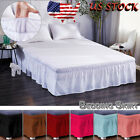 Dust Ruffle Split Bed Skirt Solid Color Wrap Around Drop Twin Full Queen King US image