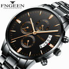 FNGEEN Stainless Steel Men Business Military Sports Analog Quartz Wrist Watches image