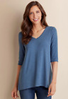 Soft Surroundings Sz L Malla Pullover Top In Heathered Blue V Neck Soft Feel  BJ