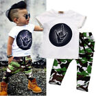 Toddler Kids Baby Boys Casual T Shirt Tops+Camouflage Shorts Outfits Clothes Set
