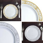 "Plastic 9"" White Lace Trimmed Plastic Plates for Lunch Salad Dishes Disposable"