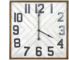 Oversized Squared Wood Wall Clock - Rustic Appearance - In Brown and White