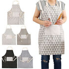 NEW Womens Cotton Linen Cheack&Plaid Apron Ladies Home Cooking Baking Costume