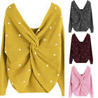 Women Ladies Long Sleeve Sweater Blouse V Neck Knitted Pearl Jumper Pullover Top