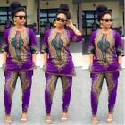 Fashion Women African Print Casual Straight Long two-piece Suit Tops+Pant US