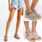 New Womens Ankle Strap Espadrilles Platform High Flat Heel Fish Mouth Sandals