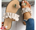 Pineapple Pattern Toe Ring Frill Hem Casual Sandals Cute Women Shoes
