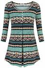 Sixother Women's Scoop Neck 3-4 Sleeve Casual Dressy Floral Long Tunic Shirt Top