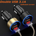 Dual USB  LED Digital Display Quick Charge 5V 3.1A Car Charger Adapter Code