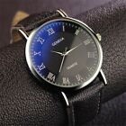 Fashion Men Steel Quartz Watch Black White Brown Leather Band Analog Wristwatch image