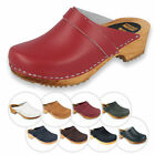 Vollsjo Womens Clogs Genuine Leather Wooden Casual Clog Sandals Made in EU