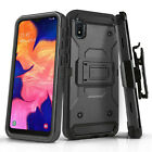for SAMSUNG GALAXY A10E [Tank Series] Phone Case Cover & Holster +Tempered Glass