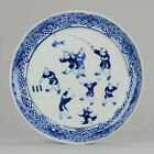 YU Marked Antique 19C Plate Chinese Porcelain Figures Boys Playing Games...