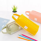 Large Double Zip  Cloth Pencil Case Makeup Travel Cosmetic Stationery Bag