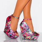 FUCHSIA SATIN PINK MULTI WEDGED PLATFORMS WEDGES HIGH HEELS SHOES SIZE