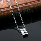 Initial Letter Alphabet Pendant Necklace Silver Tone Clear Crystals A-Z Chains