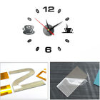 Acrylic Self Adhesive Art Analog Waterproof Coffee Cups Decor Wall Clock DIY 3D