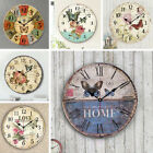 Round Retro Bar European Style Flower Print DIY Wall Clock Bedroom Decoration