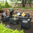 6pc Patio Rattan Wicker Sofa Set Cushined Couch Furniture Outdoor Garden