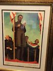 Norman Rockwell Abraham Lincoln Gettysburg Gold Signed Limited Edition Print