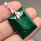 """NATURAL MALACHITE GEMSTONE 100% SOLID 925 STERLING SILVER 1 1/2"""" PENDANT"""