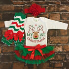 US Newborn Baby Girl My 1st Christmas Romper+Tulle Dress+Headband Outfit Clothes