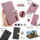 Samsung S10E S9P S8P Case Canvas Stand Leather Card Purse Magnetic Cover