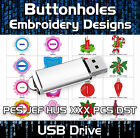 Buttonholes PES JEF HUS XXX PCS DST Machine Embroidery Design files on USB
