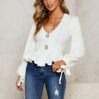 Women Sweater Casual Ruffle Sweater Knitted White Tops V Neck Long Sleeve Tee