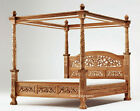 NEW Teak Wood Natural Carved French style Four poster floral design canopy bed