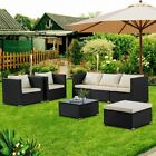 6pc Patio Rattan Wicker Chair Sofa Table Set Patio Garden Furniture W/cushion Us
