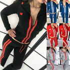 2PCS Ladies Outfits Stripe Bodycon Sweatsuit Long Sleevees Sport Pant Tracksuit