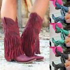 Women Ladies Low Heel Boots Fringed Cowboy Motorcycle Boots Pointed Tassel Shoes