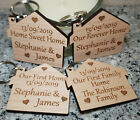 2x PERSONALISED NEW HOME HOUSE WARMING GIFT FIRST HOME KEYRING NEW HOUSE FAMILY