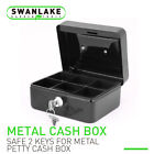 "5"" &6"" Locking Cash Box Money Small Steel Lock Security Safe Storage Check Black"