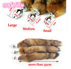 Natural Real Red Fox Fur Tail Plug Funny Toy Adult Games Cosplay Gift