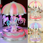 LED 3 Horses Carousel Music Box Toy Musical Girl Boy Baby Kids Birthday Gift Toy