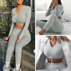 Two Piece Set Long Sleeved Drawstring Women Tracksuit Bodycon Long Pants Suits