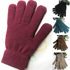 Unisex Solid Color Ribbed Knitted Full Finger Gloves Thicken Winter Warm Mittens