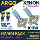H7 100w Xenon White All Weather 501 Led Side Light Headlight 499 Bulbs Hid 12v