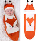 2PCS Newborn Baby Girl Boy Swaddle Wrap Blanket Sleeping Bag+Hat Outfits Set