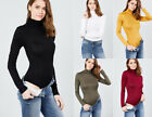 Premium Knit Turtle Neck Bodysuit Stretchy Long Sleeve Solid Colors Roll Top