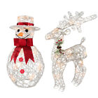 Pre-Lit Reindeer/Snowman Decoration with 20 Warm White LED Lights
