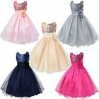 Kids Girls Lace Flower Long Dress Party Princess Prom Bridesmaid Wedding Gowns